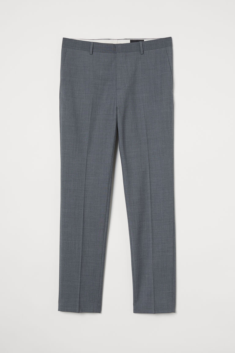H & M - 貼身羊毛混紡長褲 - 灰色