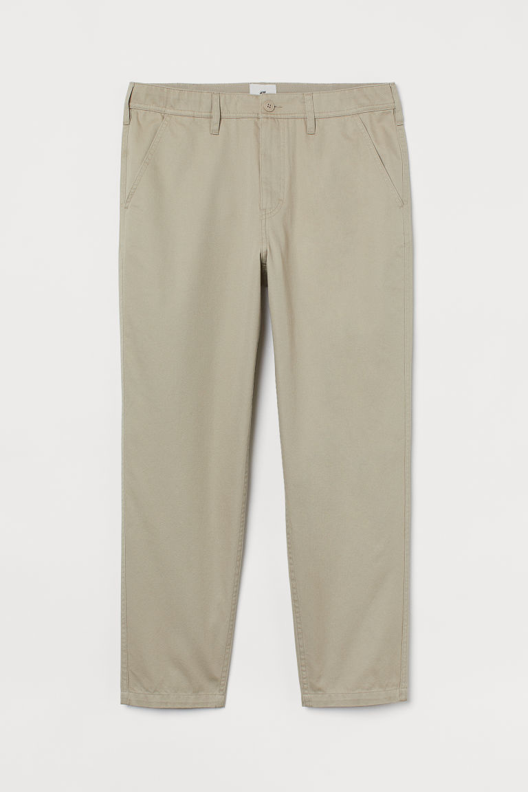 H & M - 合身卡其褲 - 米黃色