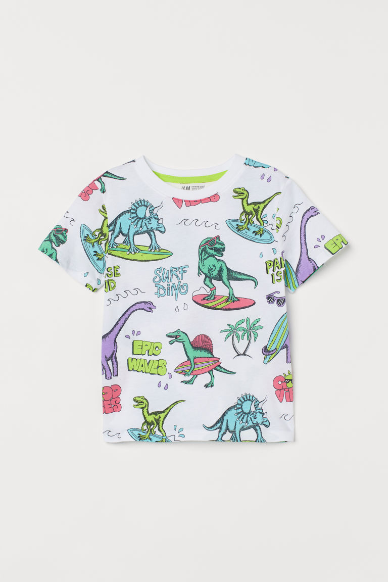 H & M - 圖案T恤 - 白色