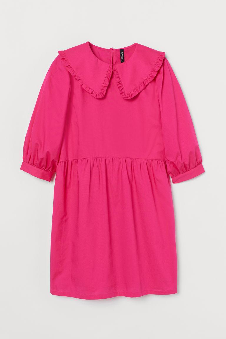 H & M - 有領府綢棉洋裝 - 粉紅色