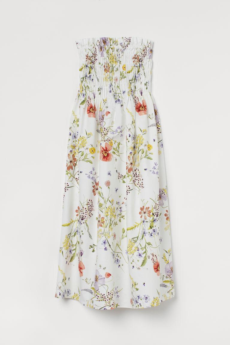 H & M - 縮褶平口洋裝 - 白色