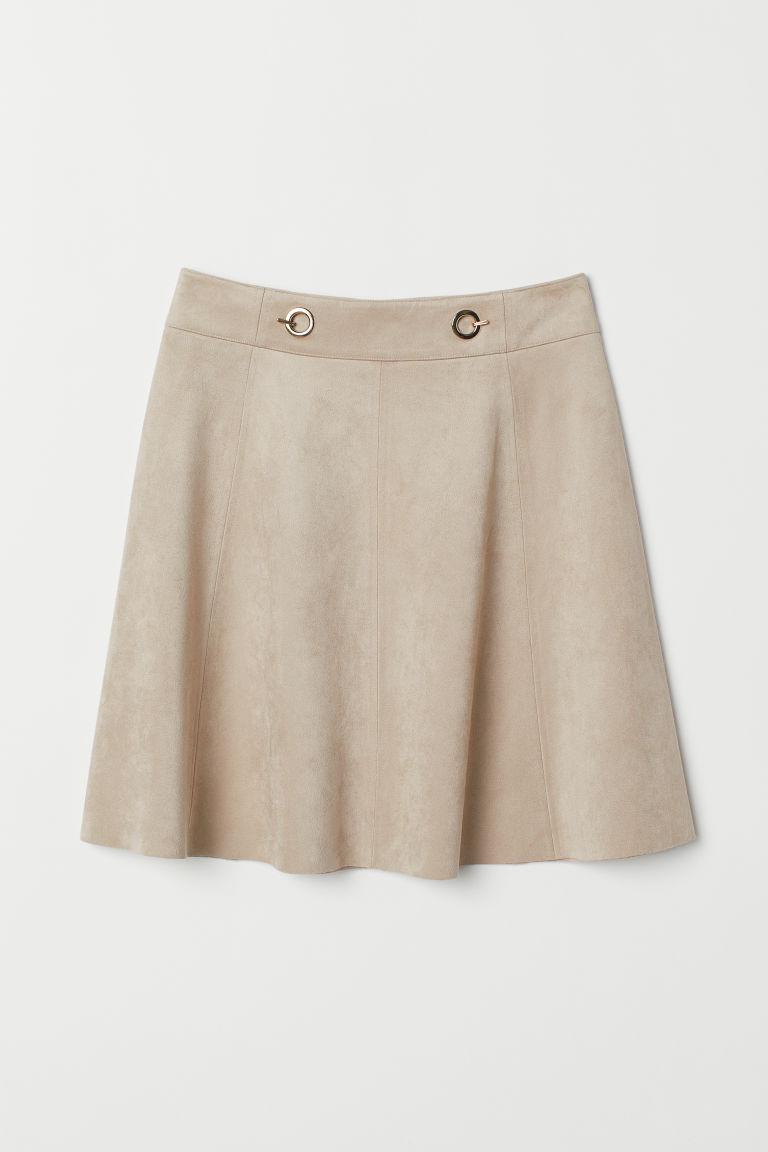 H & M - 仿麂皮短裙 - 褐色
