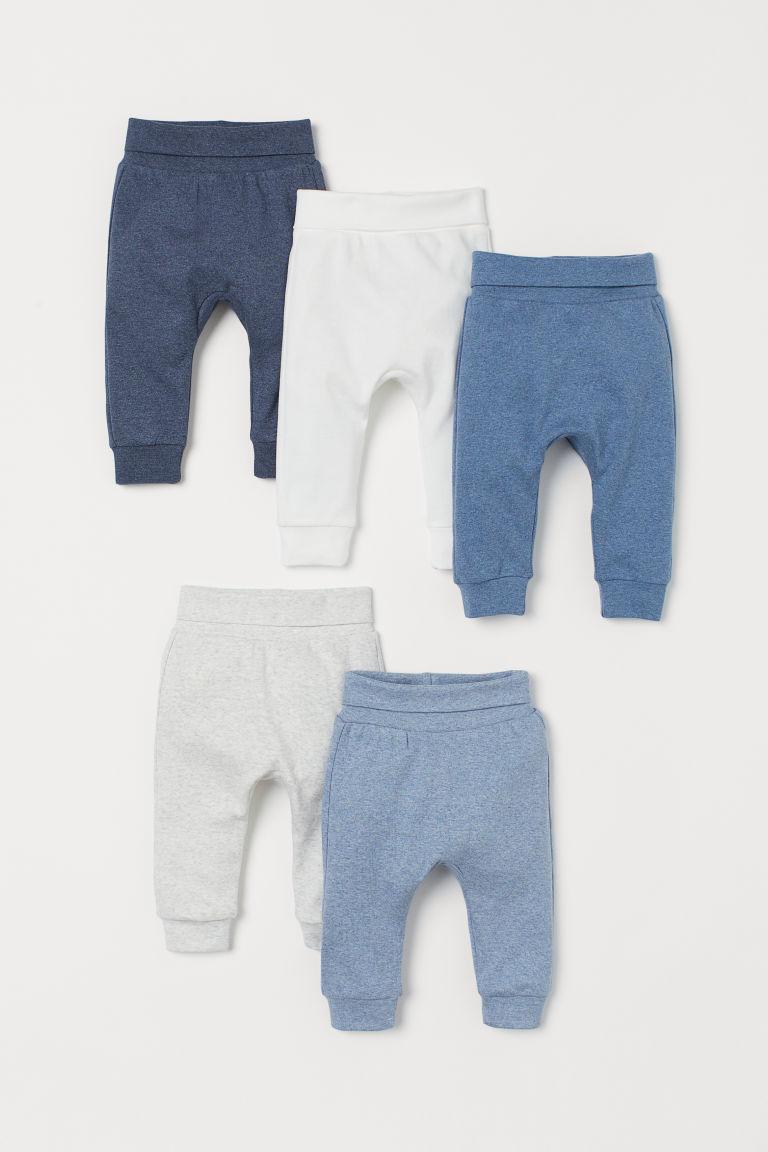 H & M - 5件入棉質長褲 - 藍色
