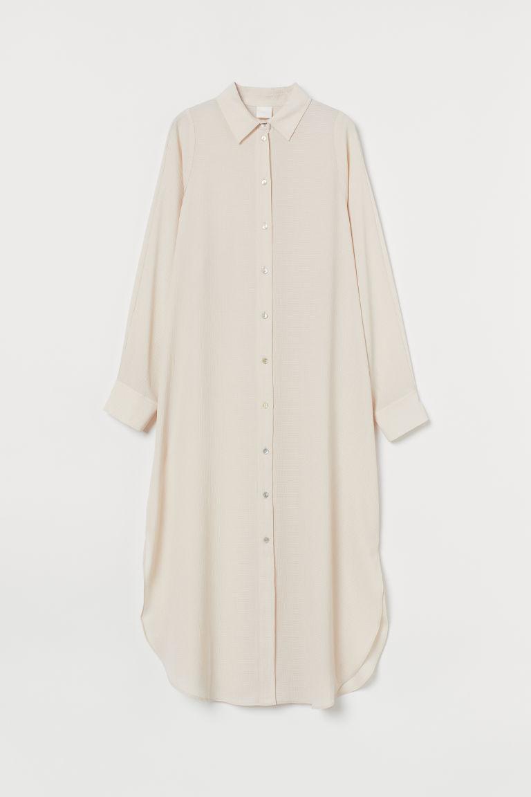 H & M - 中長版襯衫式洋裝 - 米黃色