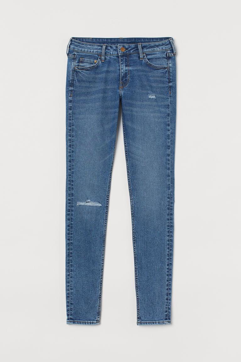 H & M - 超窄管低腰牛仔褲 - 藍色