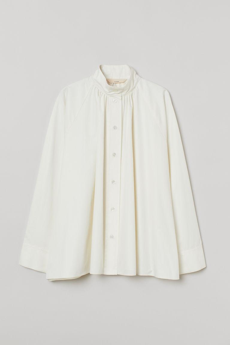 H & M - 加大碼真絲混紡女衫 - 白色