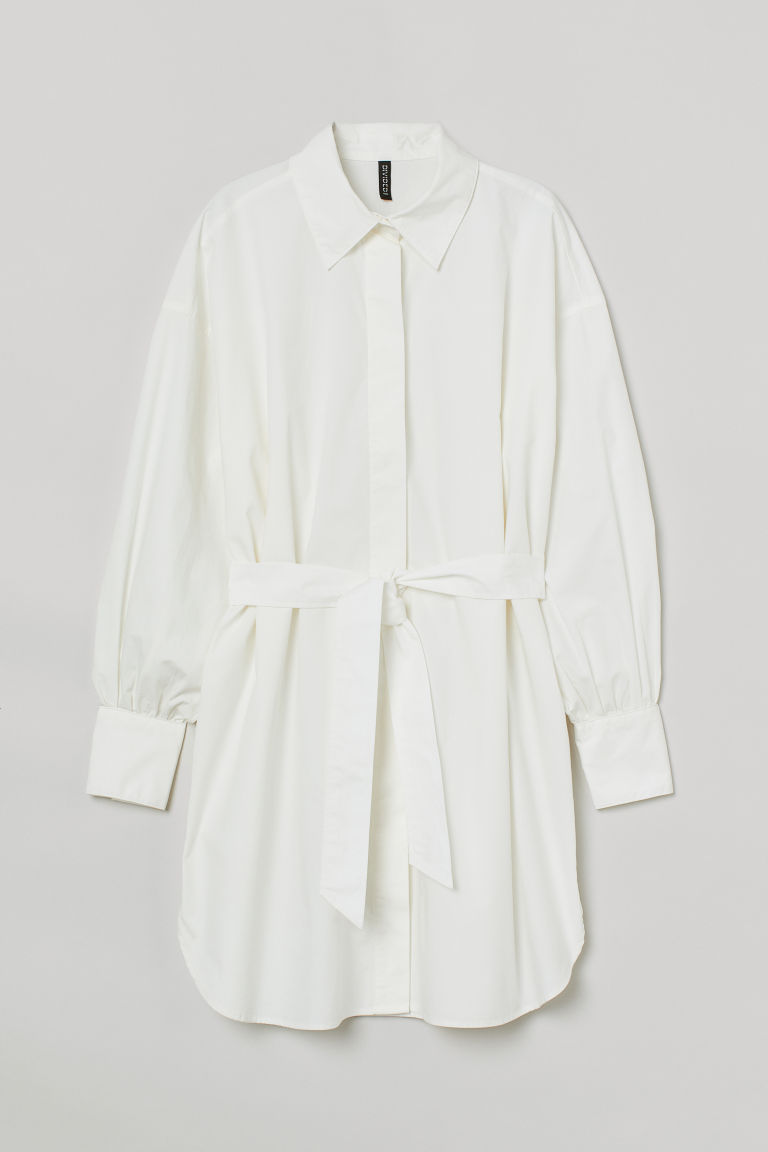 H & M - 綁帶襯衫式洋裝 - 白色