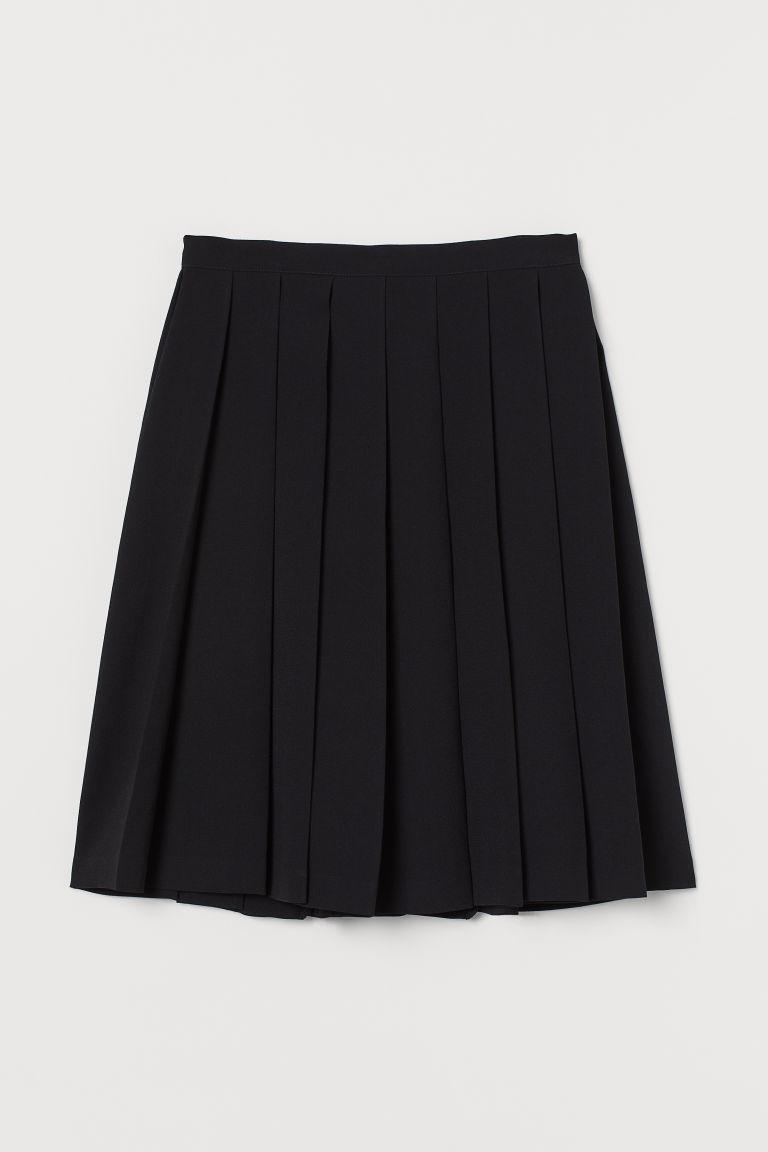 H & M - 百褶裙 - 黑色