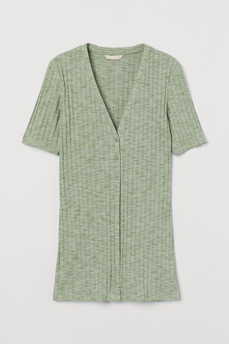H & M - 鈕扣羅紋上衣 - 綠色