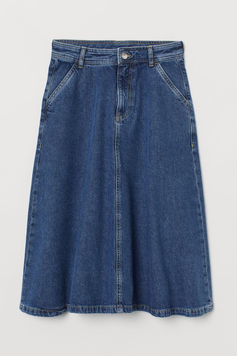 H & M - 丹寧牛仔A字裙 - 藍色