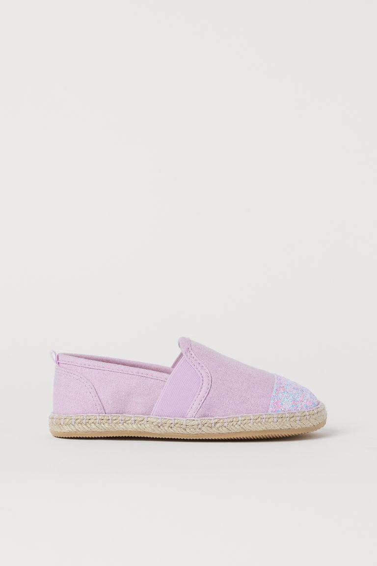H & M - 金蔥細節草編鞋 - 紫色
