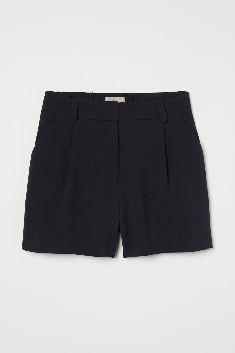 H & M - 抓褶短褲 - 藍色
