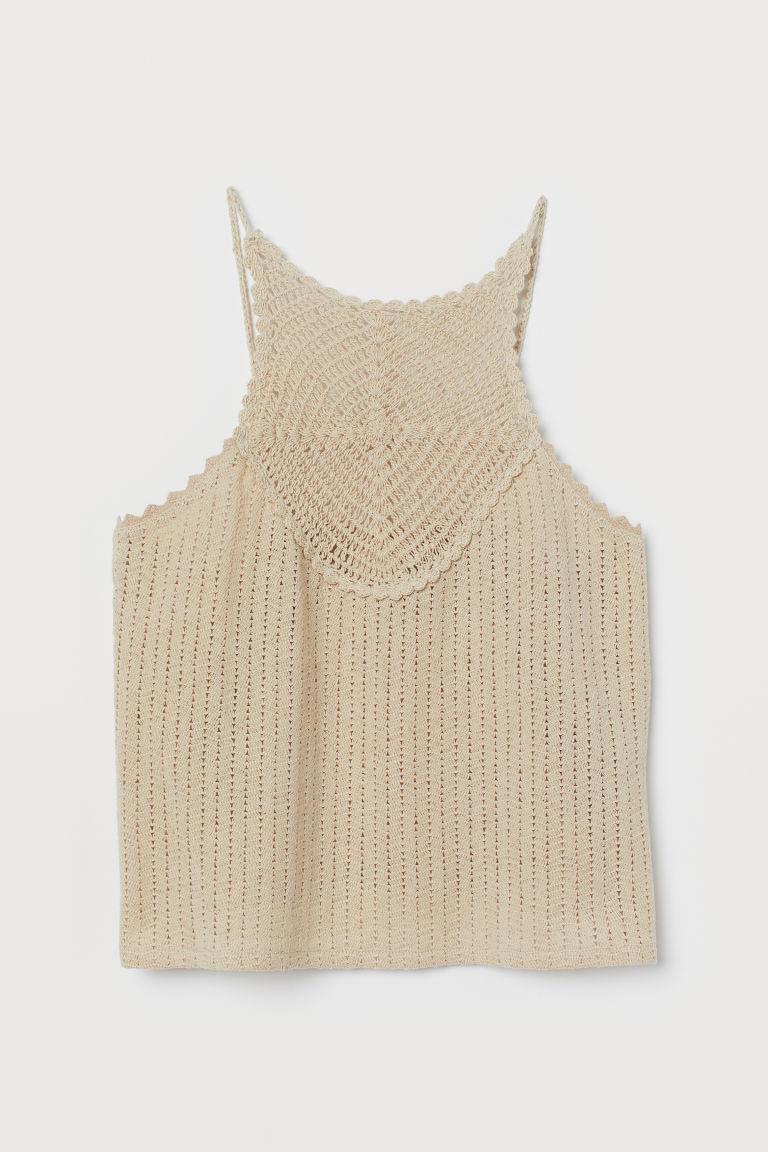 H & M - 鉤花上衣 - 米黃色
