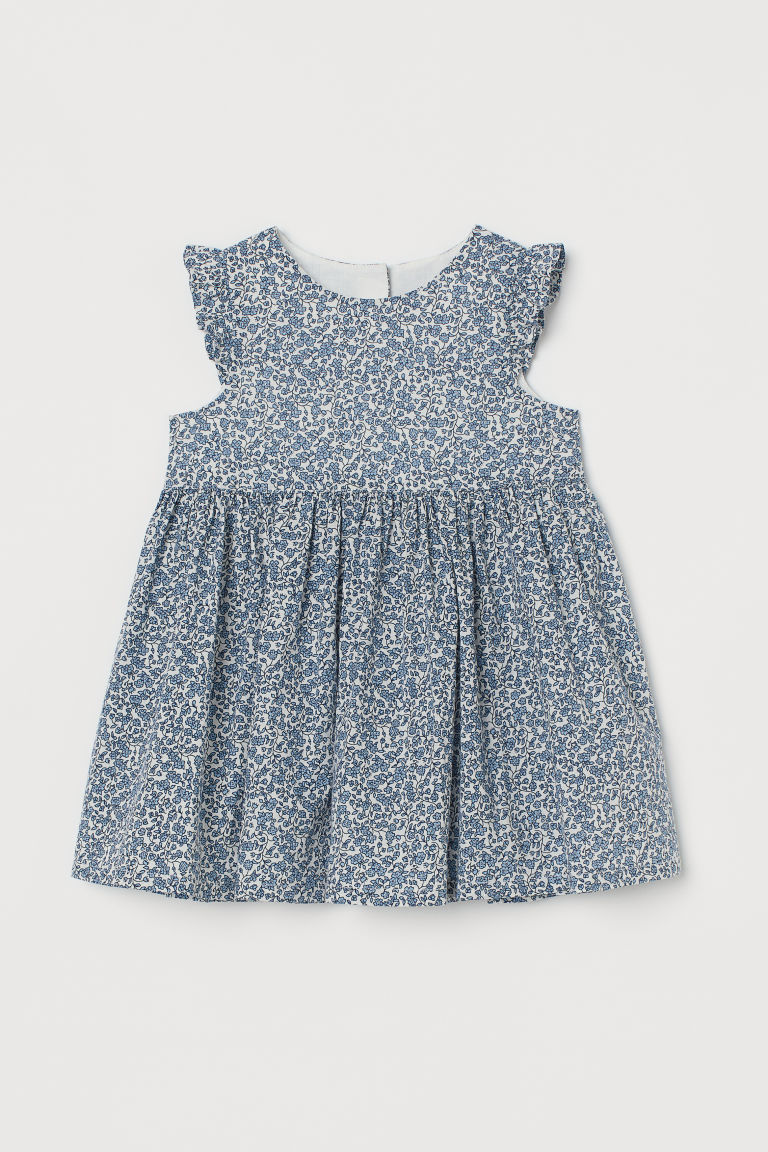 H & M - 印花棉質洋裝 - 藍色
