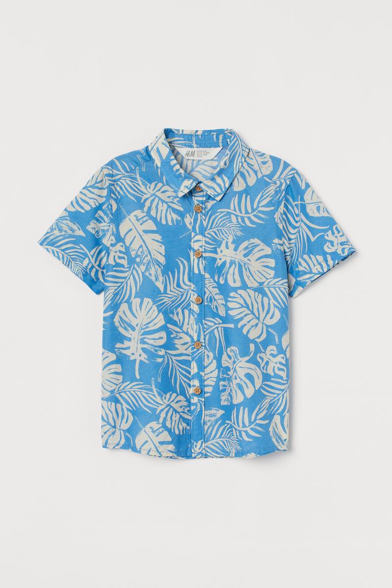 H & M - 印花棉質襯衫 - 藍色