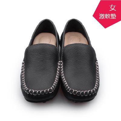 【A.MOUR 經典手工鞋】頂級牛革豆豆鞋 - 小牛黑(1303)