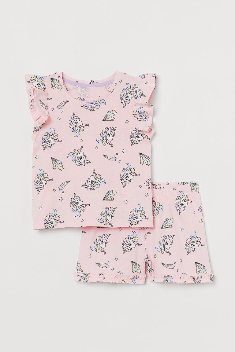 H & M - 平紋睡衣套裝 - 粉紅色