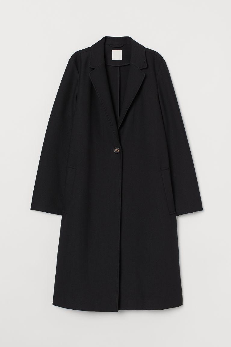 H & M - 單排扣大衣 - 黑色