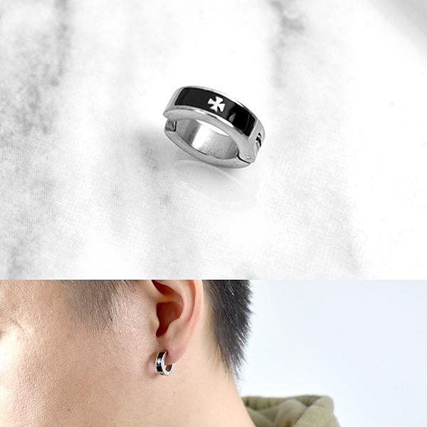 夾式耳環 鋼製黑框小銀十字架ND779
