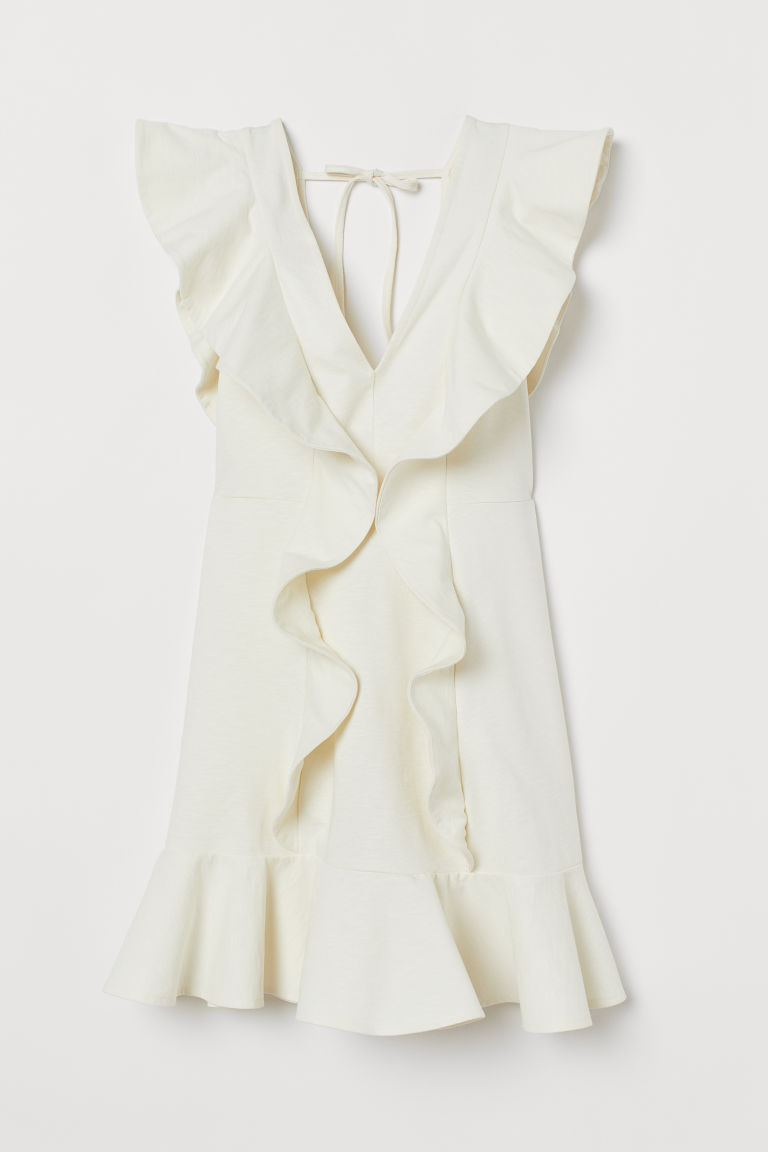 H & M - 荷葉邊短洋裝 - 白色
