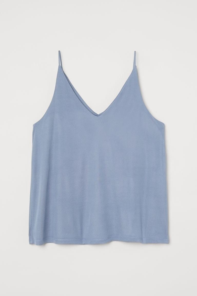 H & M - V領細肩帶上衣 - 藍色