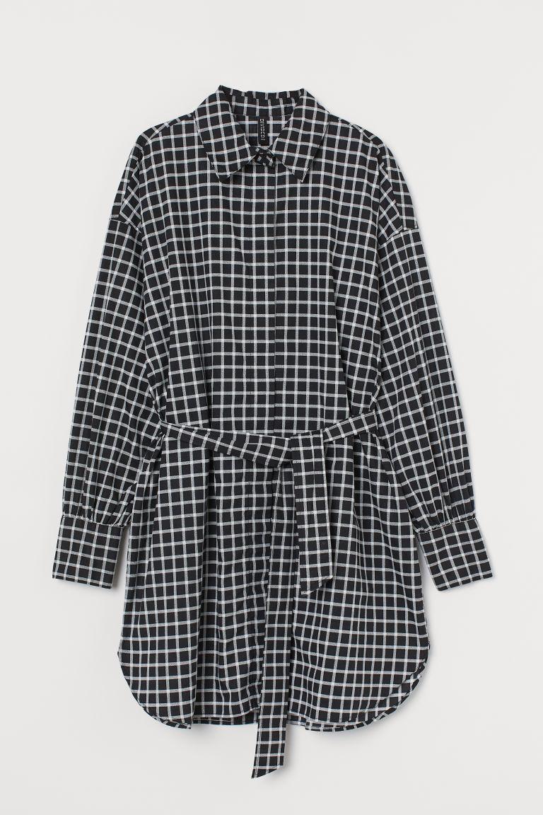 H & M - 綁帶襯衫式洋裝 - 黑色