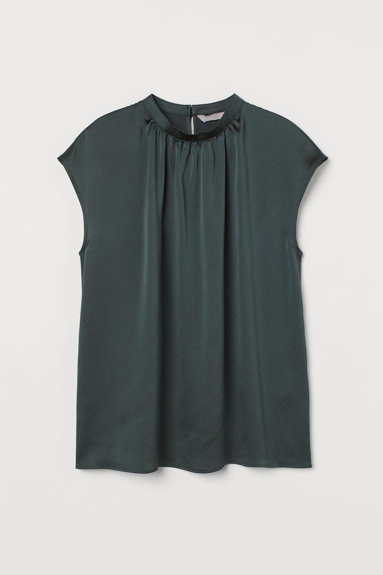 H & M - 立領女衫 - 綠色