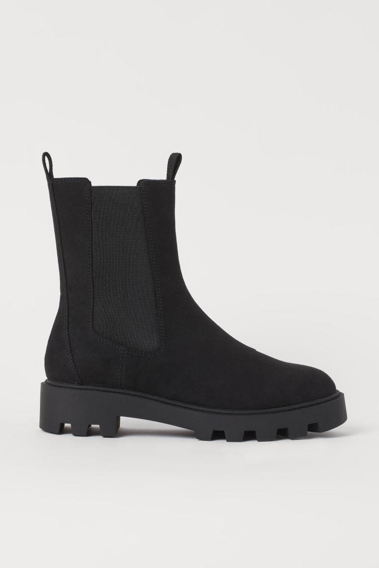 H & M - 亮眼切爾西靴 - 黑色