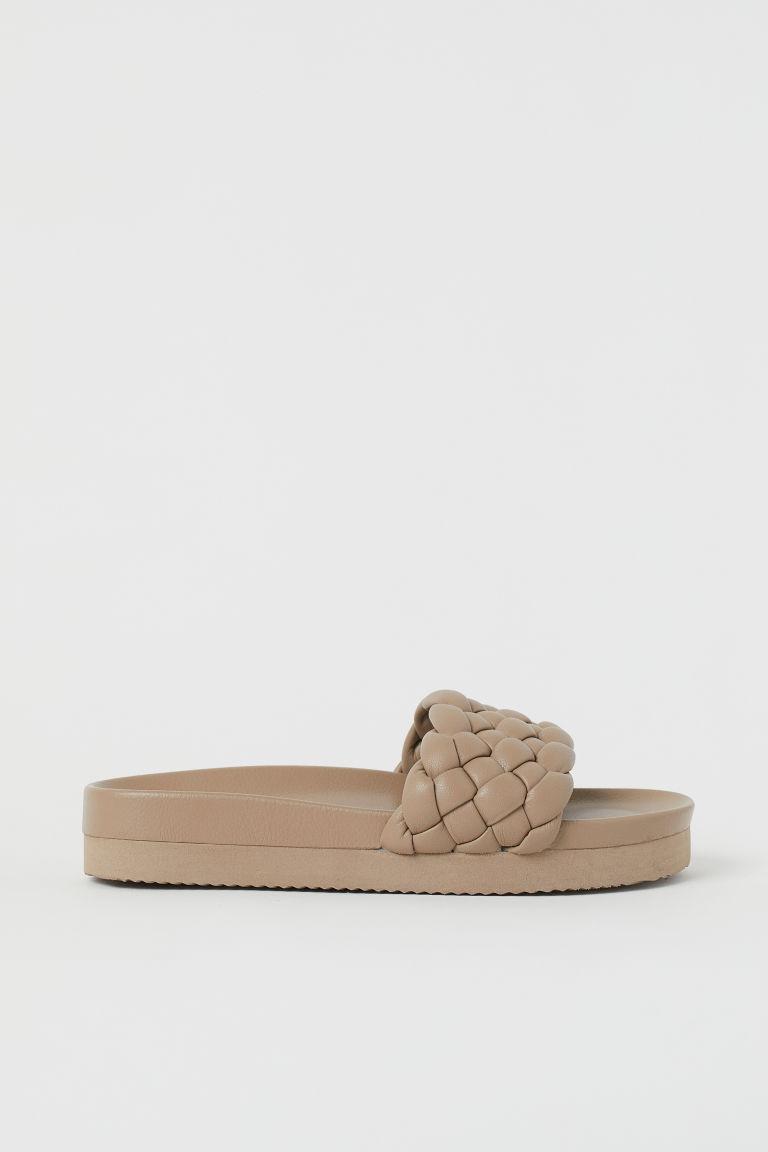 H & M - 編織拖鞋 - 米黃色