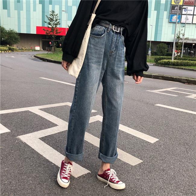 FOFU-韓國寬鬆高腰顯瘦磨白水洗做舊牛仔褲闊腿長褲【08SG05802】