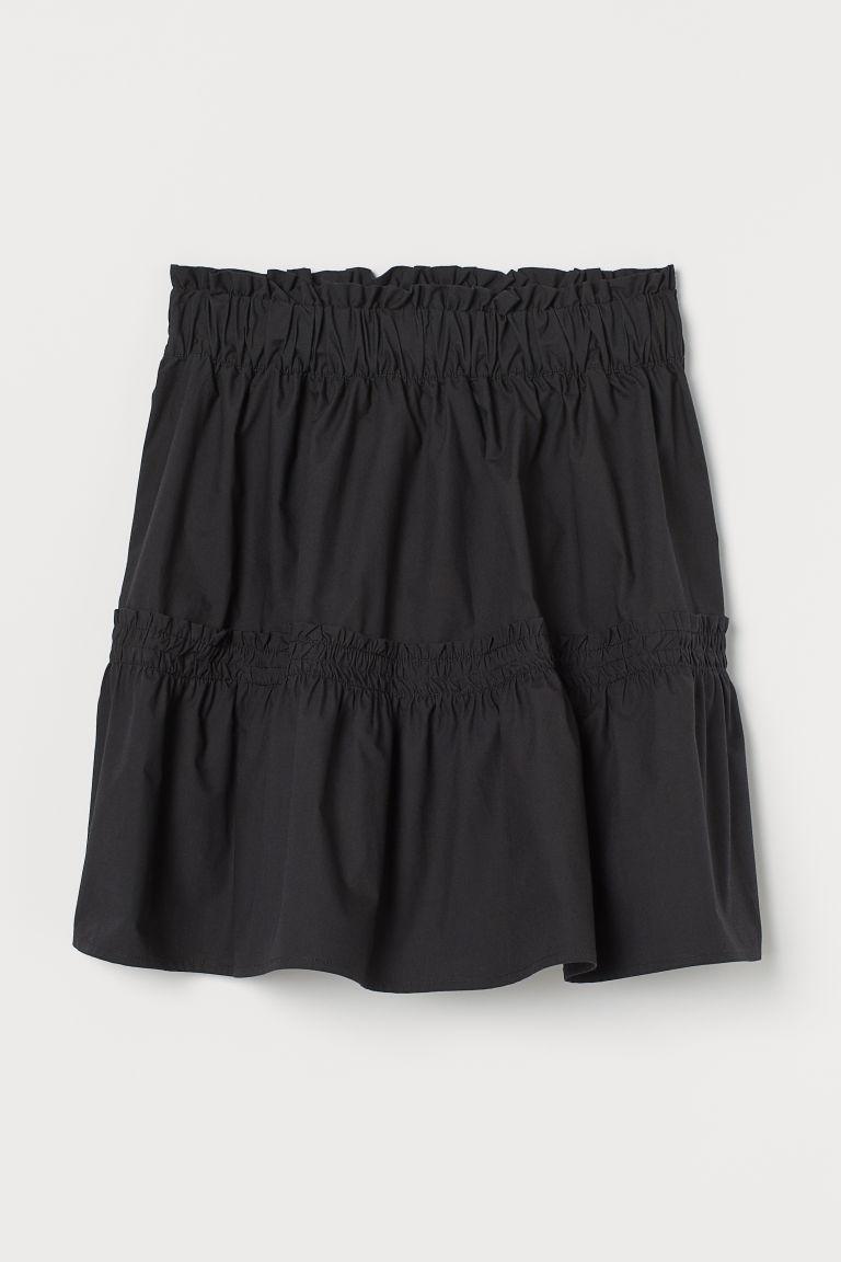 H & M - 棉質短裙 - 黑色