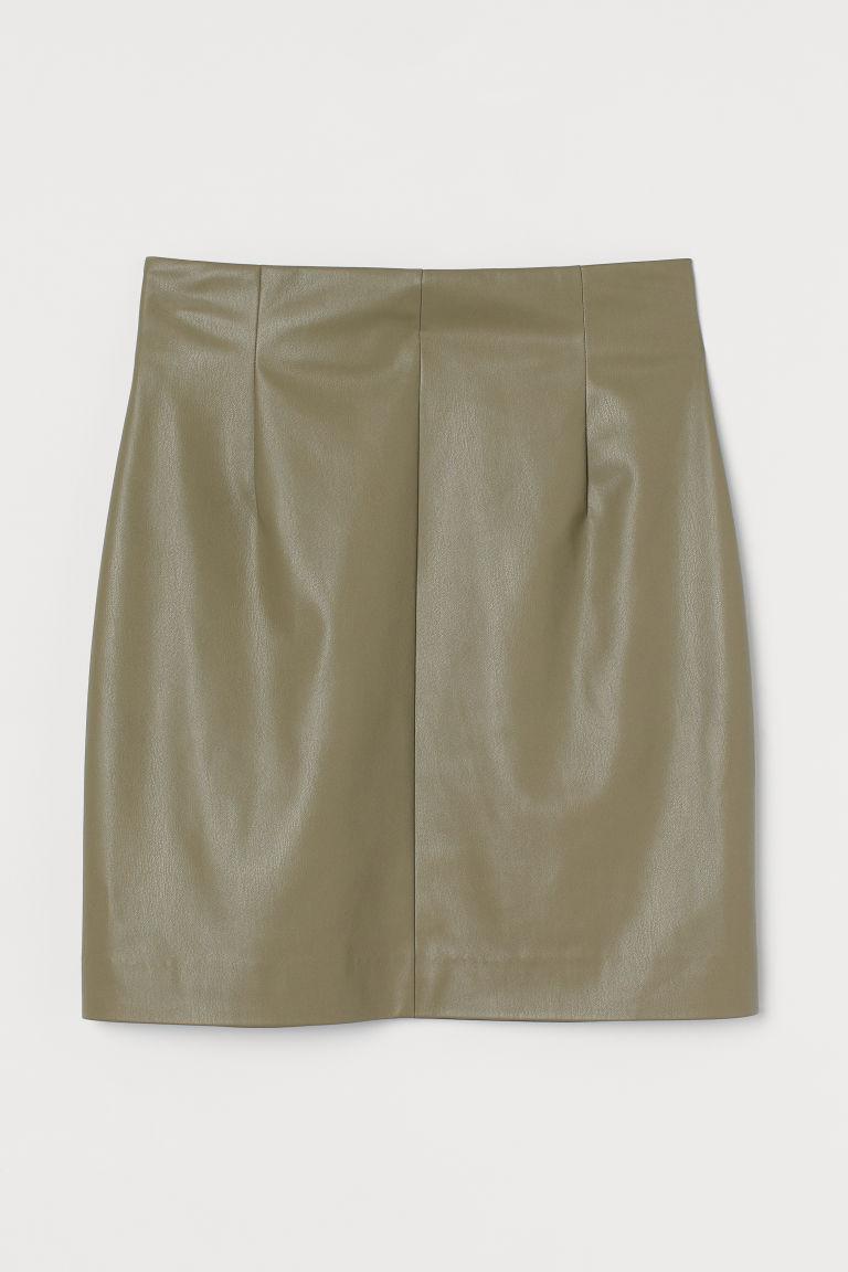 H & M - 仿皮裙 - 綠色