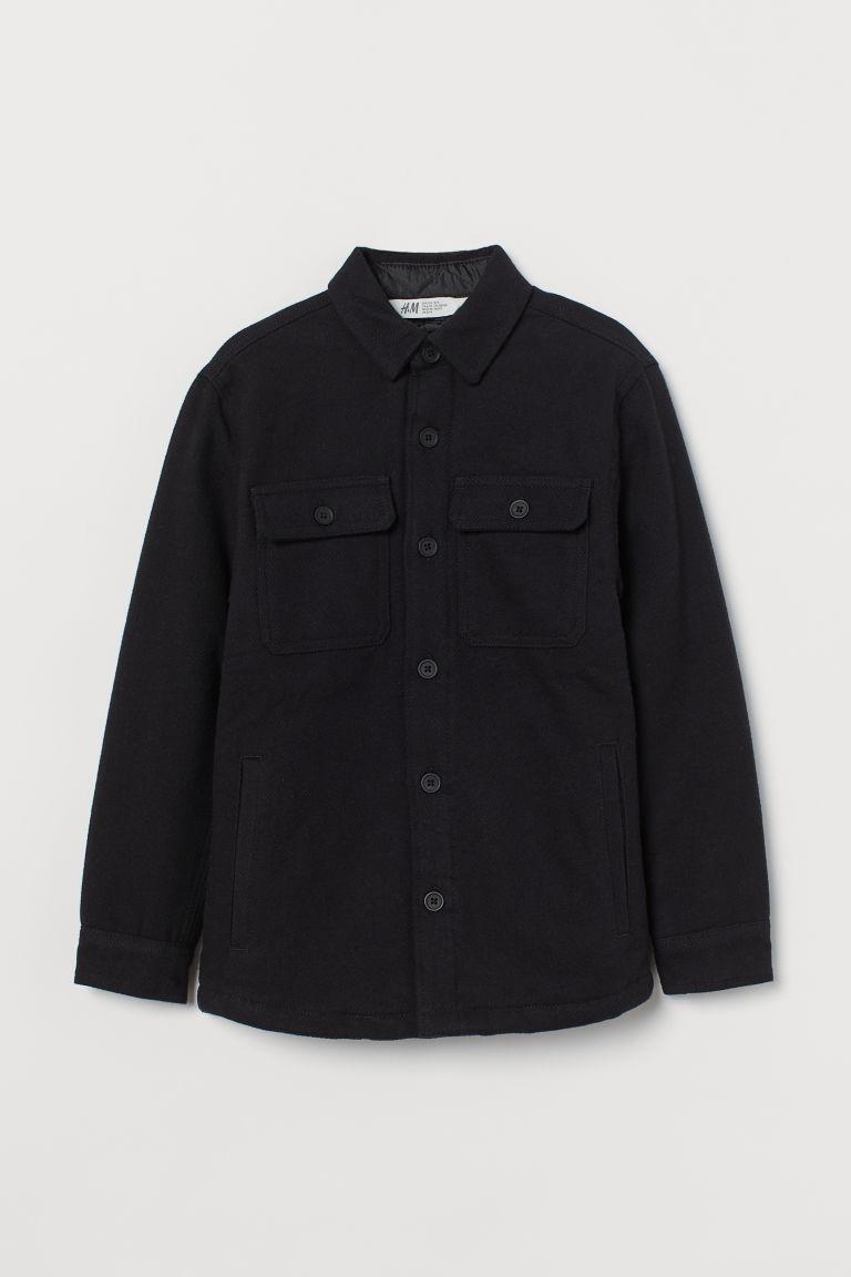 H & M - 鋪內裡法蘭絨襯衫式外套 - 黑色