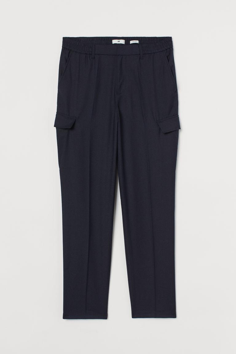 H & M - 羊毛混紡工作褲 - 藍色