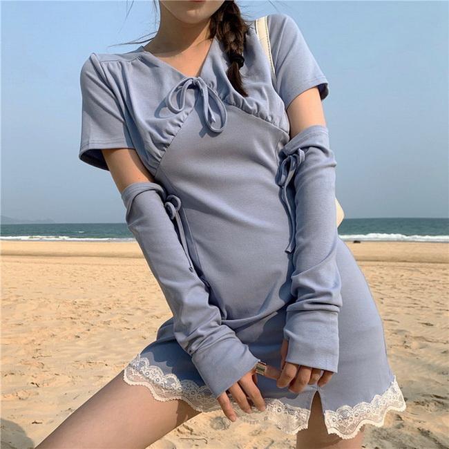 FOFU-韓版淡藍色蕾絲邊減齡少女感褶皺高腰連身裙【08SG05617】