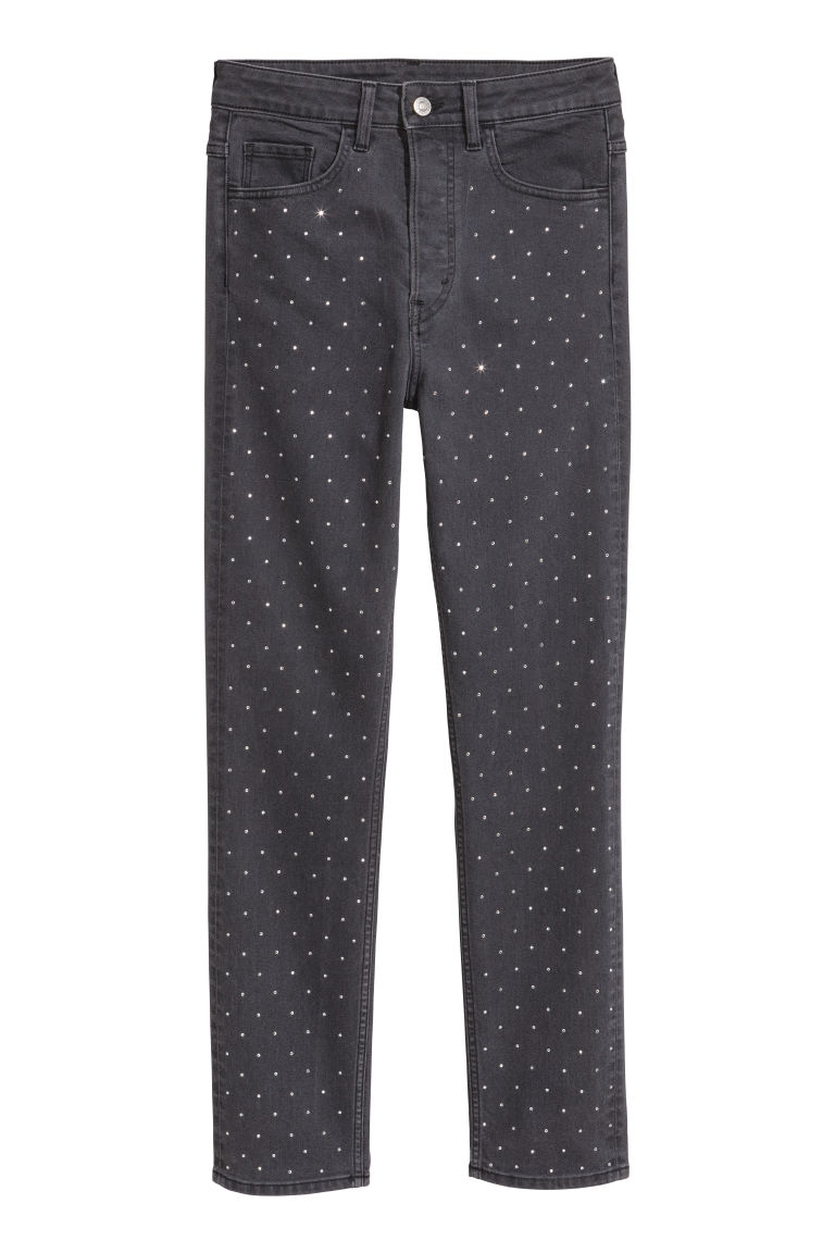 H & M - 復古貼身高腰牛仔褲 - 黑色