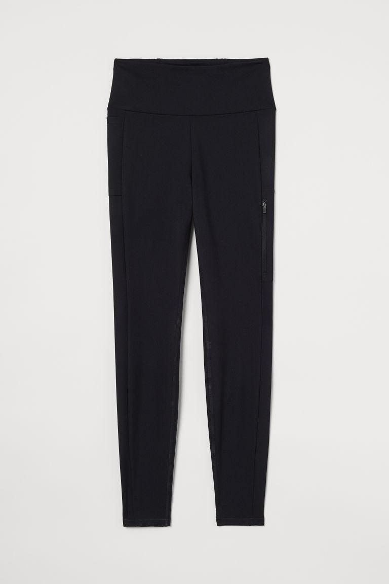 H & M - 口袋細節緊身運動褲 - 黑色