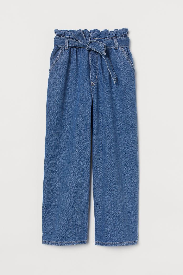H & M - 寬管九分牛仔褲 - 藍色
