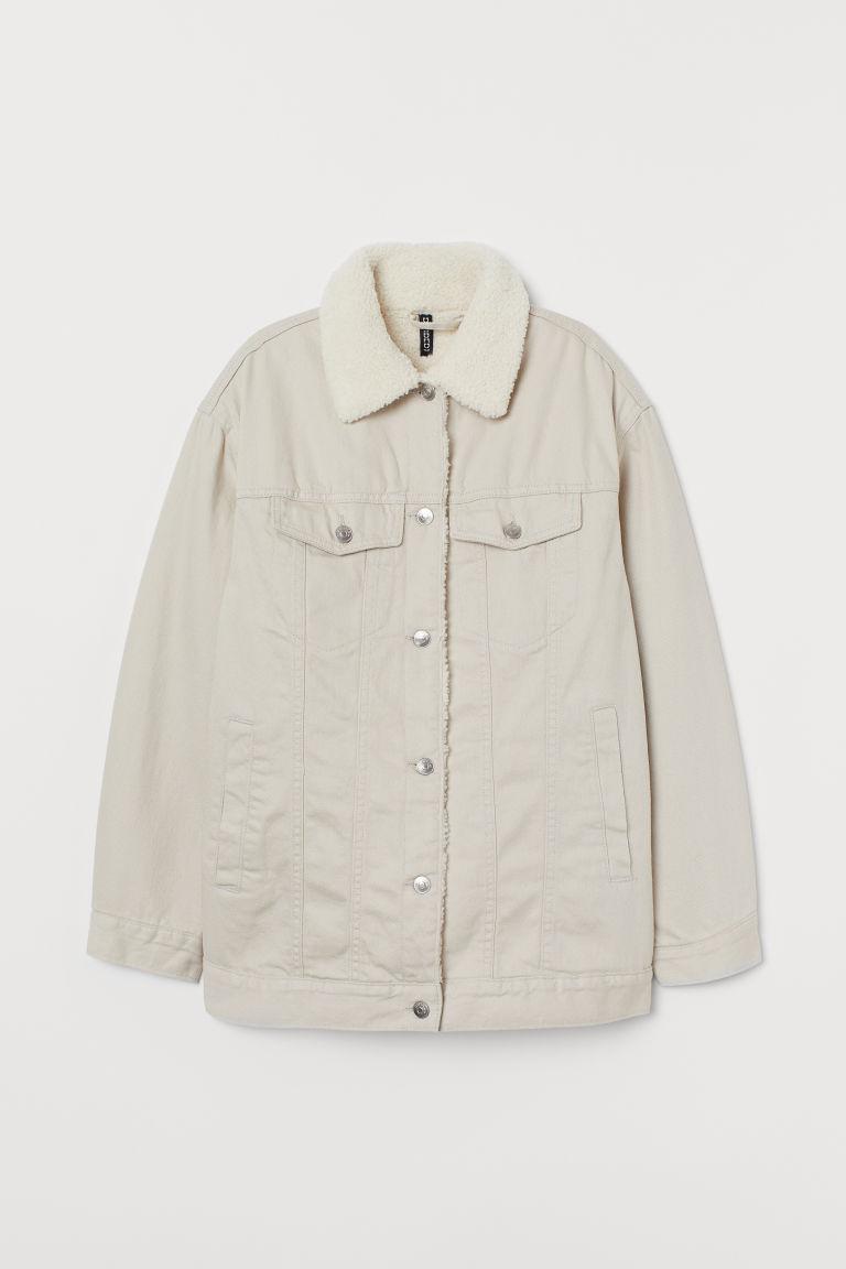 H & M - 鋪內裡斜紋外套 - 米黃色