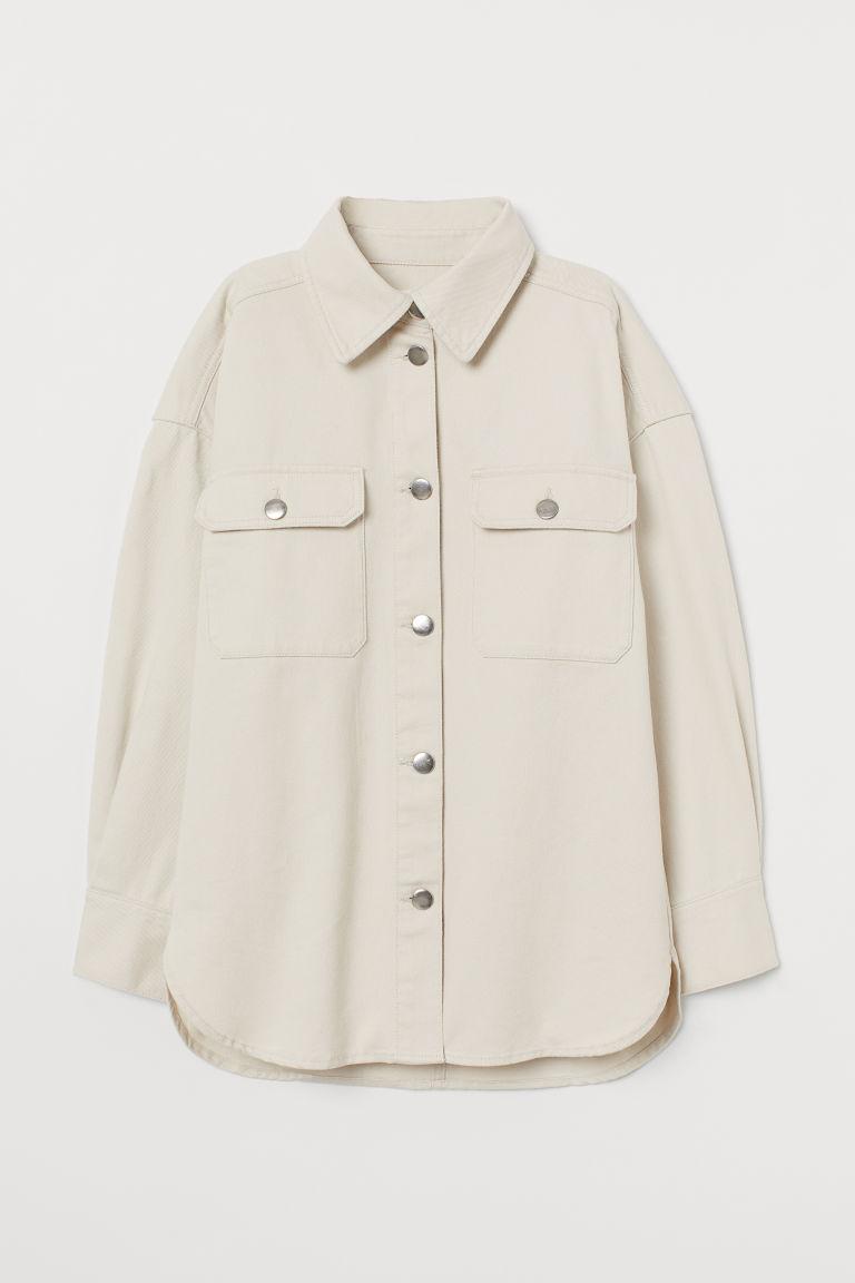 H & M - 丹寧襯衫式外套 - 白色
