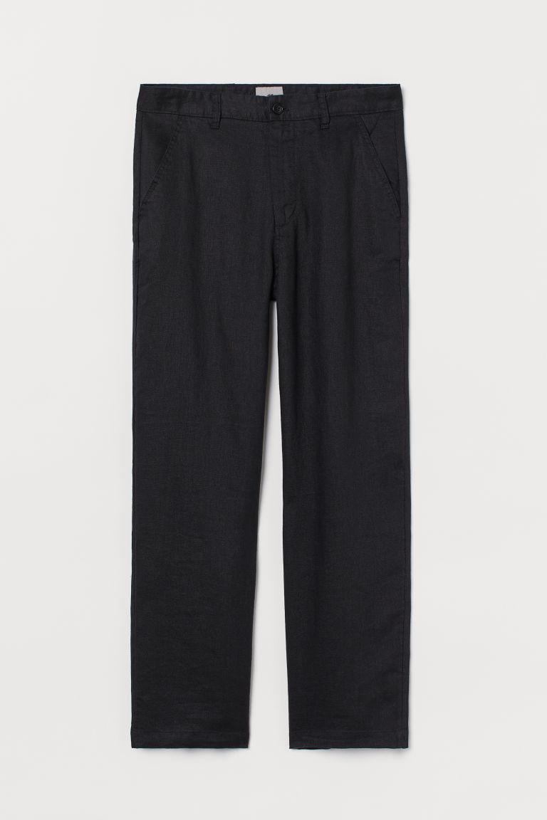 H & M - 亞麻直筒長褲 - 黑色
