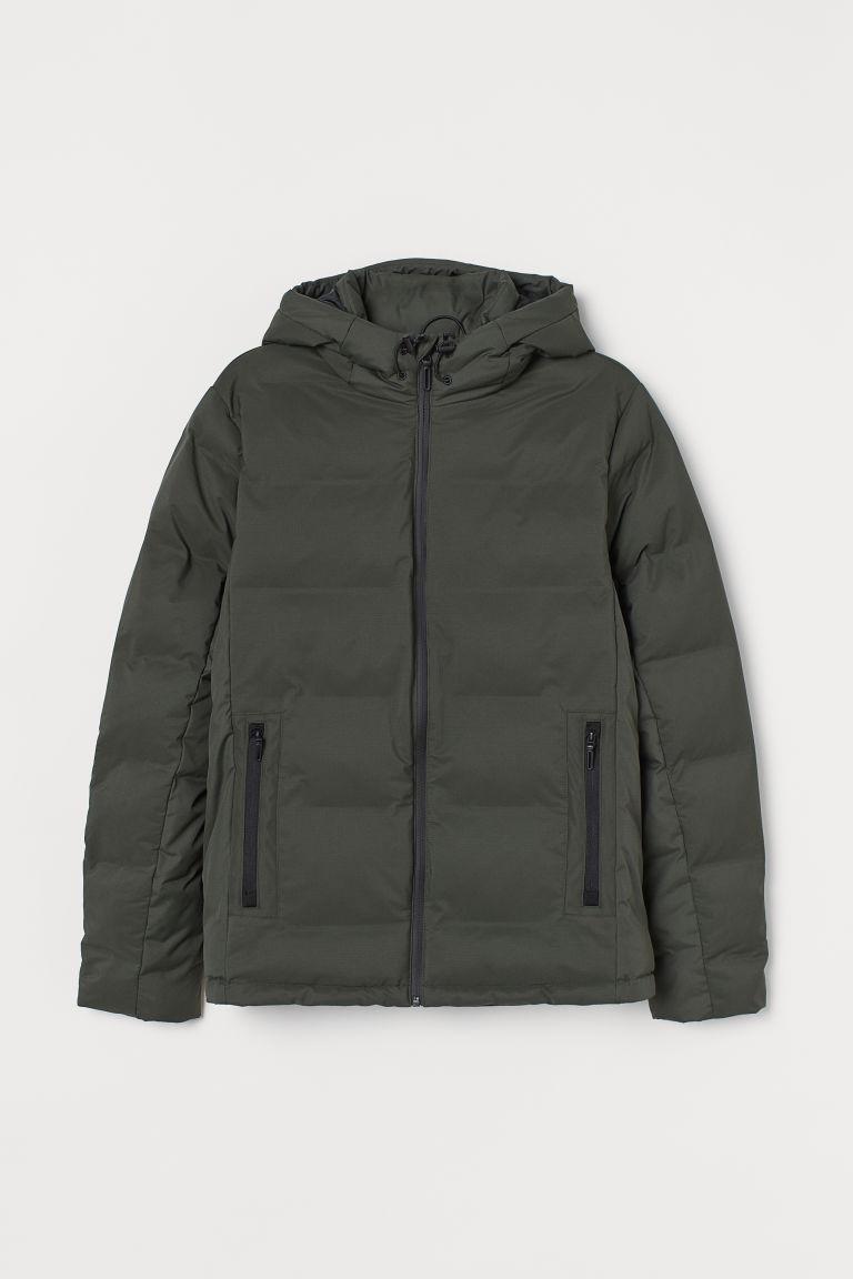 H & M - 鋪棉連帽外套 - 綠色