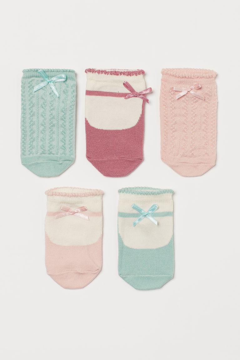 H & M - 5雙入船型襪 - 粉紅色