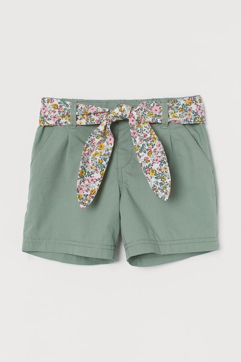 H & M - 綁帶棉質短褲 - 綠色