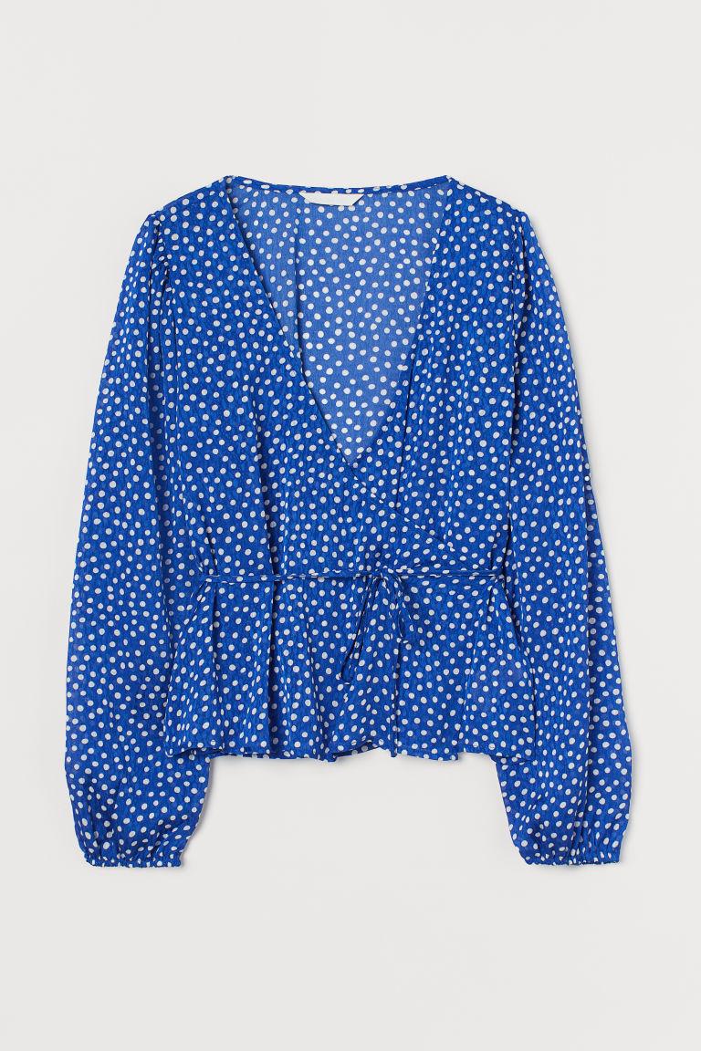 H & M - 印花交疊式女衫 - 藍色
