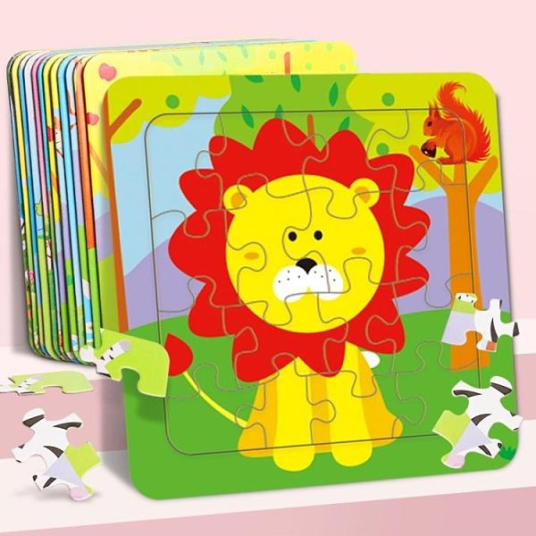 拼圖玩具 兒童動物紙質平面拼圖幼兒園啟蒙早教男女孩卡通早教益智拼裝玩具 伊衫風尚