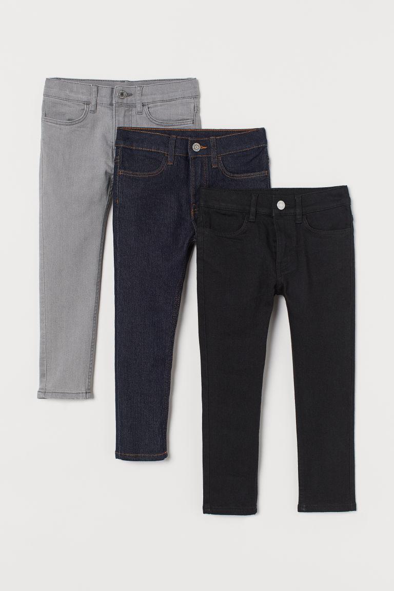 H & M - 3件入窄管牛仔褲 - 黑色