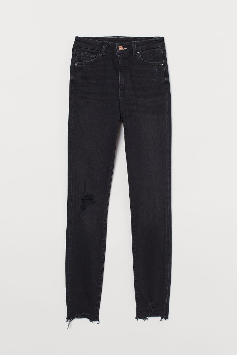 H & M - 服貼高腰九分牛仔褲 - 黑色