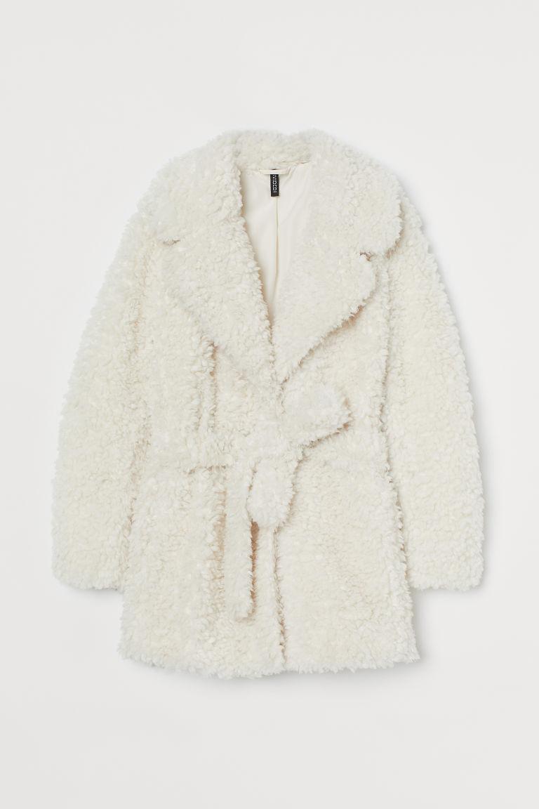H & M - 仿皮草大衣 - 白色