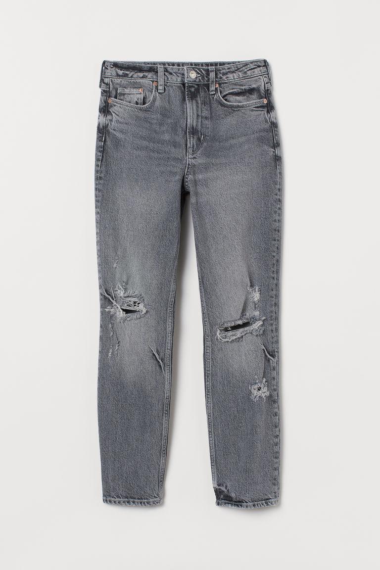 H & M - 復古貼身高腰九分牛仔褲 - 灰色